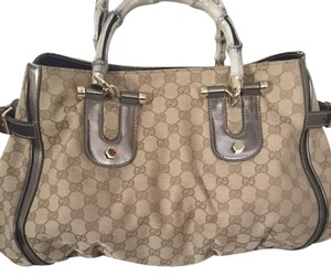 Gucci Tote in Light brown and gunmetal with gold hardwear