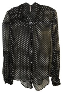 Free People Sheer Polka Dot Artsy Top Black and White