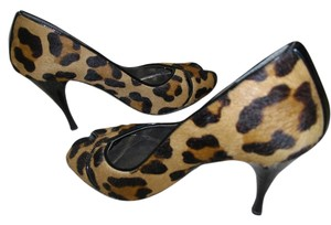 Stuart Weitzman Animal Print Goat Hair Brown, Black Pumps