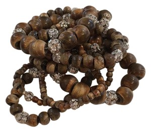 Cousin claudine 8 Stretchy Wood And Crystal Bracelets