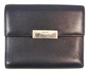 Prada Black Saffiano Leather Clutch Trifold Wallet Italy