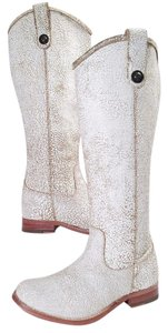 Frye Vintage Leather Knee-high Buttons Distinguish True To Finish White Cracked Boots
