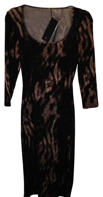 Item - Black Brown Animal Print Just Mid-length Night Out Dress Size 8 (M)