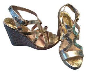 Michael Kors Gold Embossed Gold Wedges