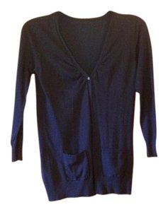 Other Navy Buttons Long Plus-size Cardigan