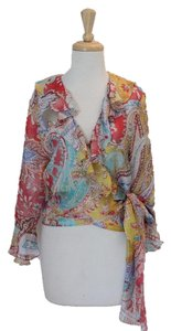 Ralph Lauren Silk Lablel Ruffles Top multi colored