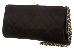 Chanel Satin Runway Quilted Wristlet in Black