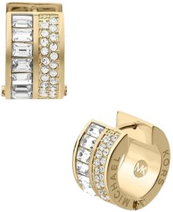 Michael Kors NWT Gold Pave and Baguette Huggie Hoop Earrings MKJ3149710