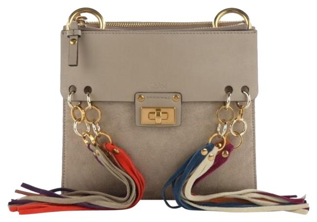 Item - Jane Small Fringe Mottey Grey Suede and Leather Cross Body Bag