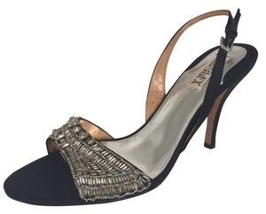 Badgley Mischka Black and silver beading Sandals