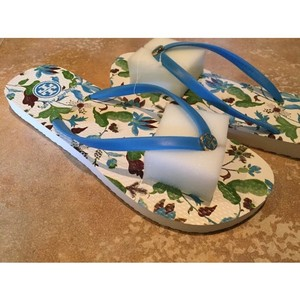Tory Burch Floral Blue Lark - Wisteria Allover Flats
