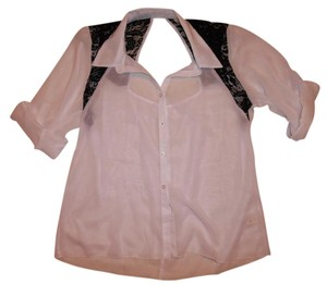L8ter 3/4 Sleeve Floral Lace Buttoned Button-down Top White, Black