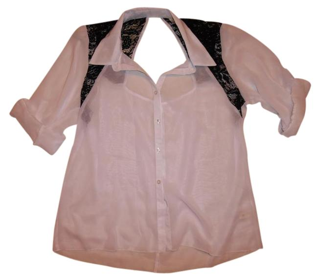 Item - White Black Sheer Lace Open-back 3/4 Sleeves Button-up Blouse Size 16 (XL, Plus 0x)