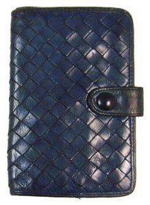 Bottega Veneta Vintage Navy Blue Leather Intrecciato Wallet Italy