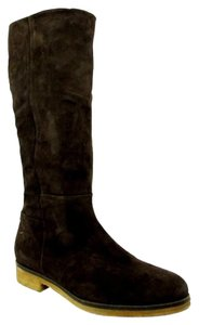 "Alberto Fermani Heel Height: 1"" Mid Calf Rubber Out Sole Full Side Zip Suede Black Boots"