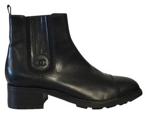 Chanel Leather Chelsea Boot Black Boots
