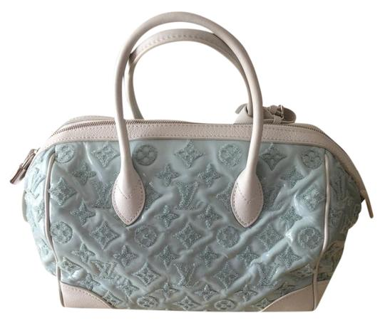 Louis Vuitton Satchel in White/Baby Blue