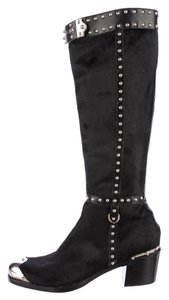 Prada Silver Pony Hair Knee High Studded Boots