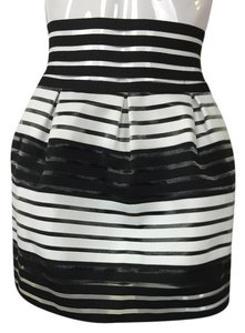 Black Sheer Stripes Mini Skirt black, white