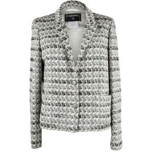Chanel 05p And Metallic Black White Womens Jean Jacket