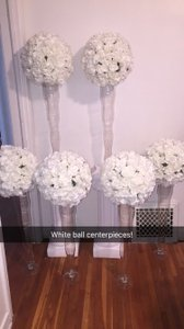 6 White Large Flower Balls With Vase