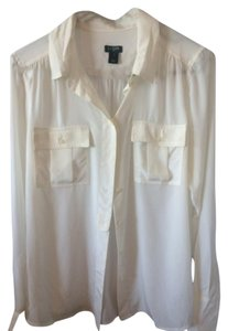 J.Crew Silk Office Button Down Shirt White