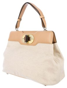 BVLGARI Isabella Rosellini Canvas & Leather Mother Of Pearl Satchel in Natural