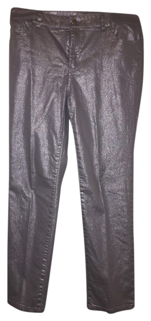 Chico's Metallic Classic Straight Leg Jeans-Coated