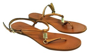 Coach Leather Buckle Thong Designer Nude Sandals