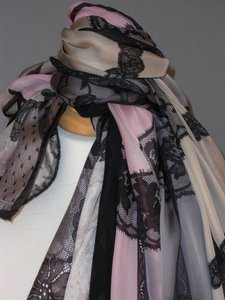 """Valentino New """"Set Of 4"""" Classic City Evening Couture Silk Satin Bridal Stole Shawl Wrap Accessory In Embroidered Black Lace On Chiffon Feminine Wedding Dress Size OS (one size)"""