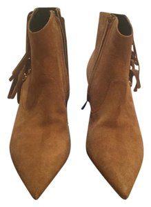 Saint Laurent Ysl Fringed Suede Kitten TAN Boots