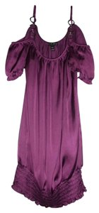 Fang Silky Cap Sleeve Silver Chains O-rings Top Purple