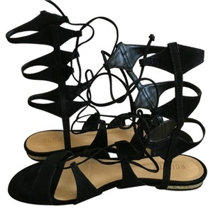SCHUTZ Gladiator Flat Strappy Black Sandals