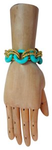 Kenneth Jay Lane KJL Statement Bracelet Blue Acrylic & Gold Tone Rope Link Toggle