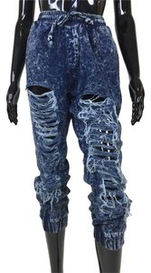 Denim Joggers Destroyed Pants