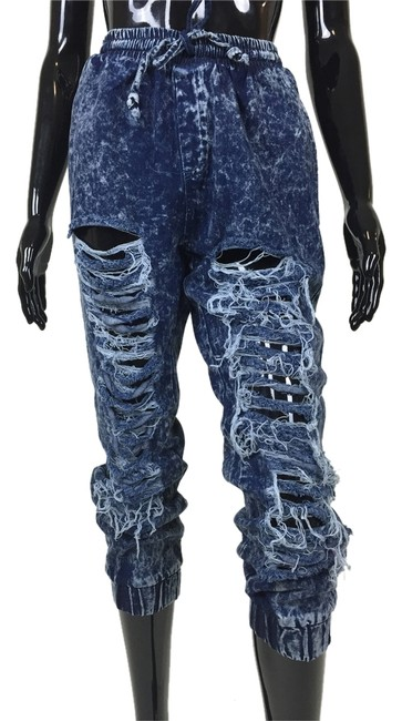 Other Denim Joggers Destroyed Ripped Pants