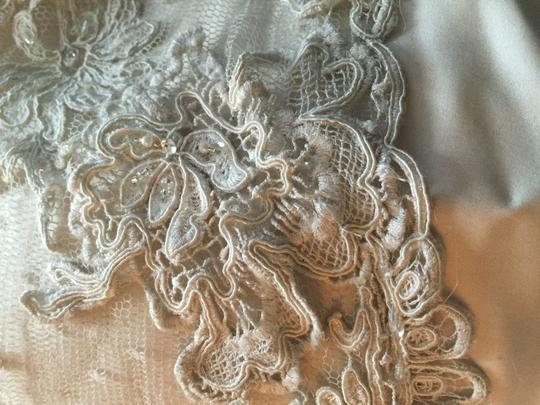 Casablanca Champagne/Ivory/Silver Beaded Lace Appliqus On Point D'esprit Over Luxe Satin 1975 Feminine Wedding Dress Size 12 (L)
