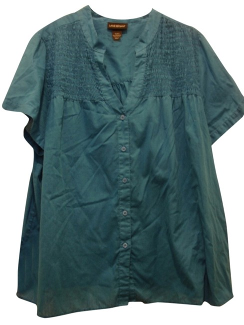 Preload https://item1.tradesy.com/images/lane-bryant-peacock-blue-smocked-button-front-polyester-blend-1820-blouse-size-18-xl-plus-0x-1843570-0-0.jpg?width=400&height=650