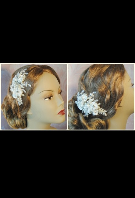 Item - Ivory English Lace Fascinator with Rhinestones Pearls Hair Accessory
