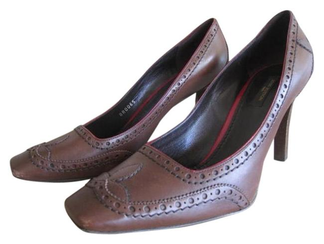 Item - Chocolate with Red Trim Detail Office Boss Manager Attorney Court Formal Shoes Size US 9 Regular (M, B)