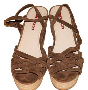 Prada Prada Brown Suede Strappy Espadrilles Wedge Sandals Sandals
