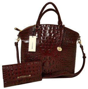 Brahmin Leather Large Satchel in BLACK CHERRY