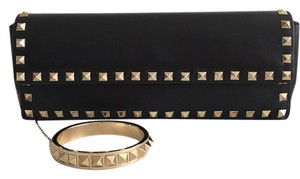 Valentino Rockstud Bracelet Leather Black Clutch