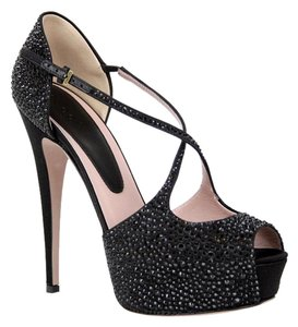 Gucci 362705 Platform Crystals Heel Black Pumps