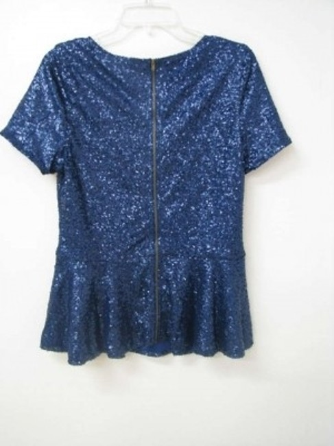 Tinley Road Sequin Back Zipper Peplum Top Navy