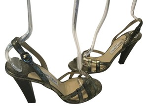 Jimmy Choo Front Cut Outs Italian Pewter leather slingback E39 Sandals