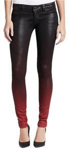 Frankie B Coated Leather Rocker Coated Low Rise Skinny Jeans-Coated
