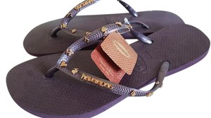 Havaianas Flip Flops Greek Key Aubergine Purple Sandals