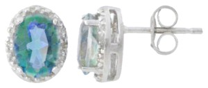 Other 14Kt White Gold Natural Blue Mystic Topaz & Diamond Oval Stud Earrings