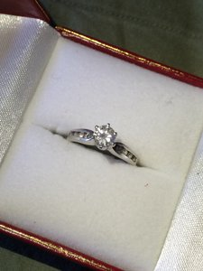 Solitaire With Accents 14k White Gold Engagement Ring .5 Carat Size 5.5